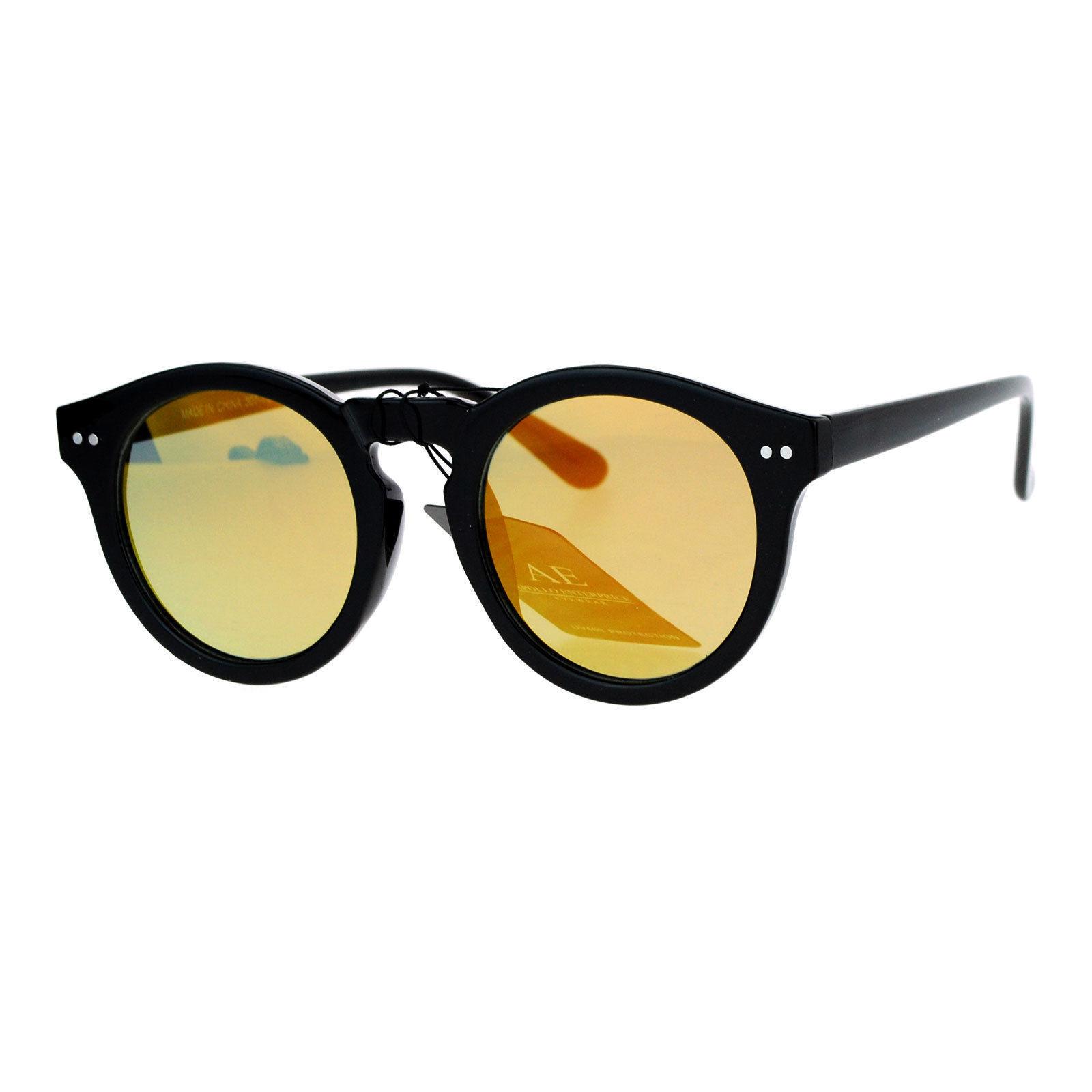 Unisex Fashion Sunglasses Black Round Keyhole Horn Rim Mirror Lens UV 400
