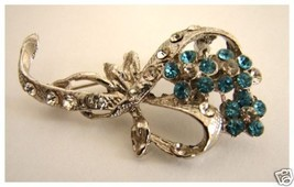 VINTAGE BEAUTIFUL JEWELED FLORAL BOUQUET&BOW BROOCH PIN - $14.99
