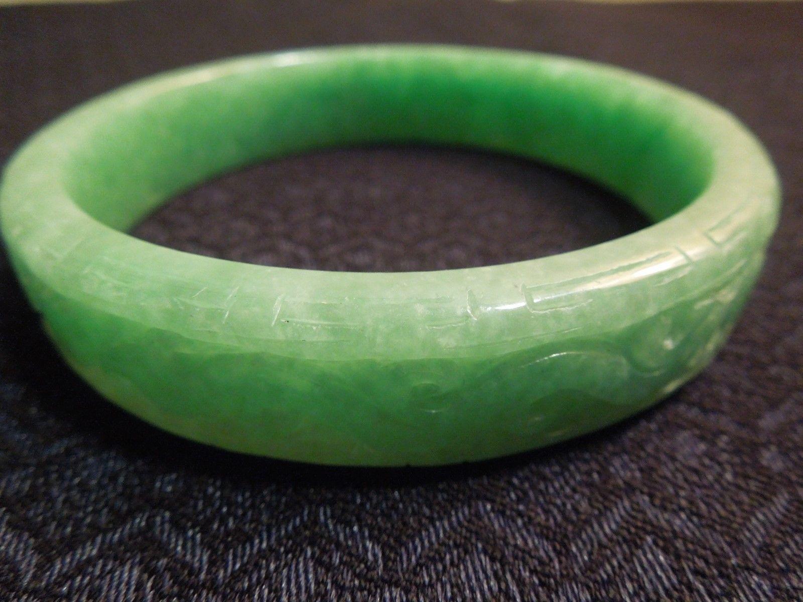 Vintage Chinese Green Jade Filigree Wave Carved Sculpted Bangle Bracelet, 63g