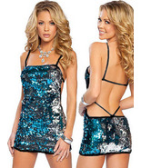 Sexy One-piece string Halter sequin Mini-Dress Clubwear Blue 2199 - $19.90