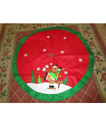 "SKATING REINDEER RED CHRISTMAS TREE SKIRT 47.5"" diam Appliqued Felt Floo... - $13.95"