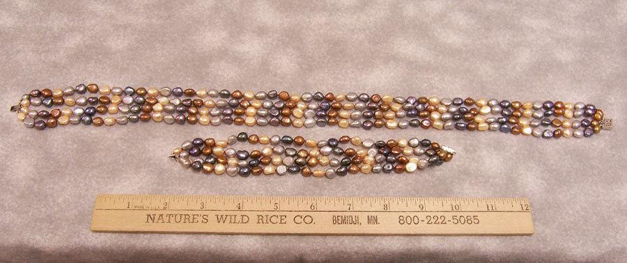 Set Necklace Bracelet Fresh Water Pearls Earth Tones Copper Bronze Gray Blue