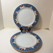 "2 Dinner Plates Sakura Stoneware Debbie Mumm Snowman Christmas 11"" - $14.50"