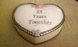 Precious Moments 25 Years Together Anniversary Large Heart Trinket Box - $5.70