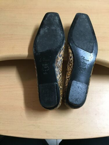 Delman Womens Shoes sz 6 Tan Animal Print Slip On Ballet Flats Leather