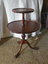 Ribbon Mahogany Carved  2-Tier Table Dumbwaiter Table - $349.00