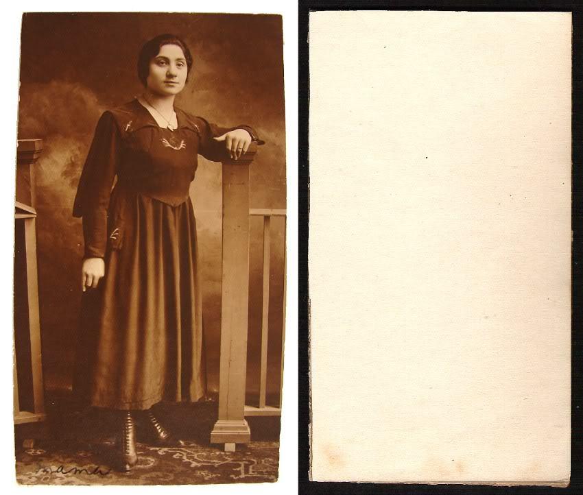 RARE ORIGINAL 1910's EUROPEAN WOMEN SEPIA REAL PHOTO