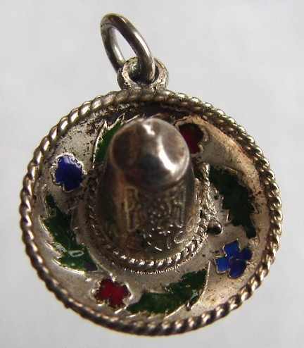 VINTAGE FIGURAL MEXICAN SOMBRERO ENAMEL SILVERED CHARM