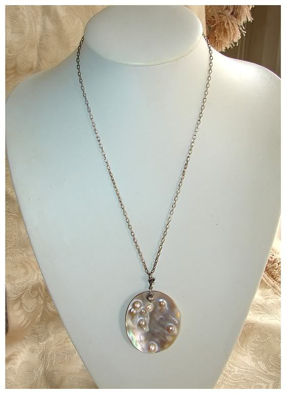 VINT. VERY UNIQUE BLISTER PEARLS SILVER HEART NECKLACE