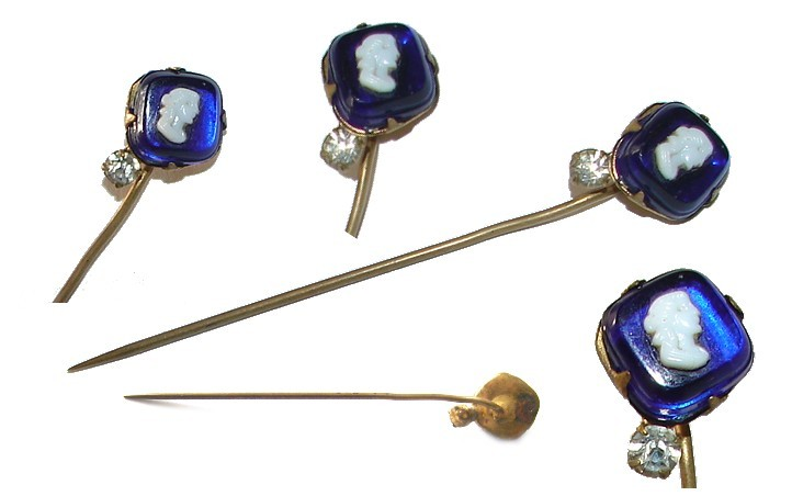 VINTAGE UNUSUAL BEAUTIFUL BLUE SAPPHIRE CAMEO STICK PIN
