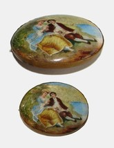 19c. YOUNG LOVERS SCENERY PAINTING BROOCH PIN L@@K!! - $94.99