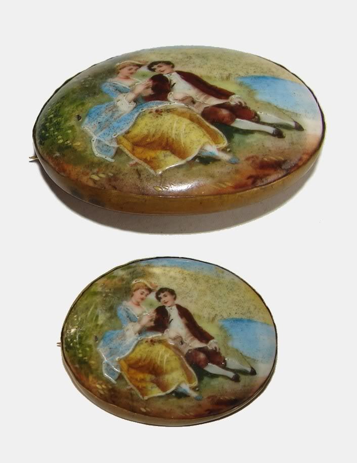 19c. YOUNG LOVERS SCENERY PAINTING BROOCH PIN L@@K!!