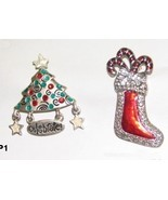 Christmas Tree and Glitsy Christmas Stocking Pin Jewelry - $6.99