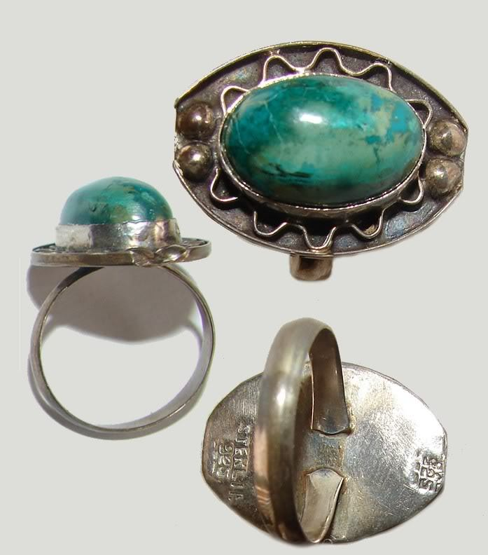 VINTAGE STERLING SILVER TURQUOISE MEXICO RING L@@K!!