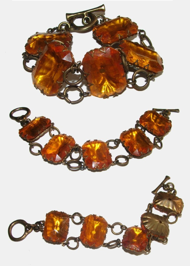VINTAGE FABULOUS AMBER JEWELED BIG & BOLD BRACELET WOW!