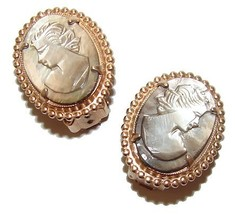 VINTAGE FAB CARVED MOP CAMEO LADIES  EARRINGS - $59.99