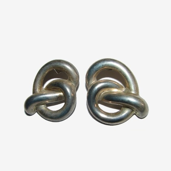 VERY UNIQUE PRETZEL SHAPED VINTAGE EARRINGS