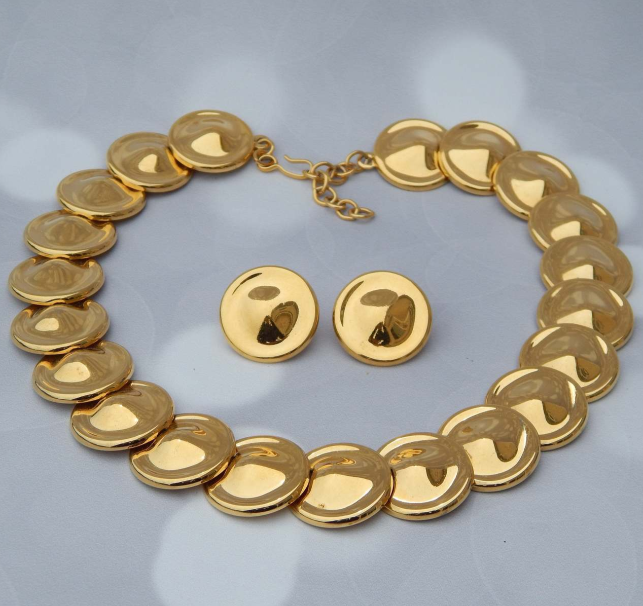 Primary image for MONET Gold Disk Necklace & Clip-On Earrings, Byzantine Egyptian Style Cleopatra