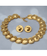 MONET Gold Disk Necklace & Clip-On Earrings, Byzantine Egyptian Style Cl... - $239.00