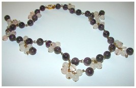 VINT. FABULOUS AMETHYST & ROSE QUARTZ BERRIES NECKLACE - $144.99