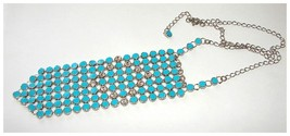 MESH METAL TIE NECKLACE ENAMEL RHINESTONS  - $75.00