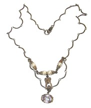 VINTAGE PEARLS & AMETHYST JEWEL FESTOON NECKLACE  WOW!! - $94.99
