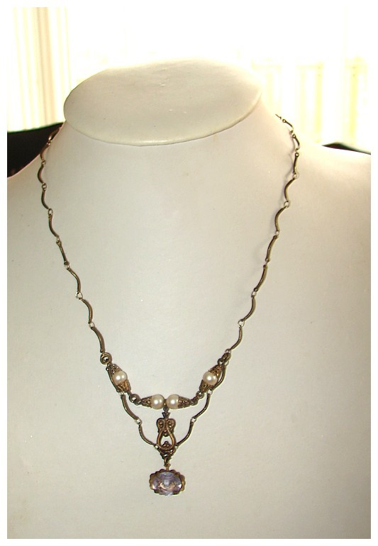 VINTAGE PEARLS & AMETHYST JEWEL FESTOON NECKLACE  WOW!!