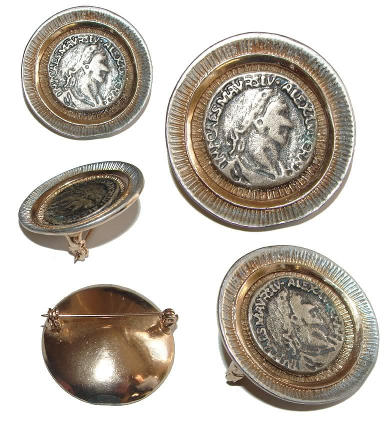 PRETTY ANTIQUE COIN LIKE MEDALLION VINTAGE BROOCH