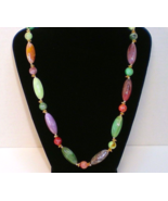 Necklace faux polished stone bead oval round 1980s multi-colors - $9.95