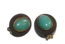 VINTAGE AVENTURINE GEMSTONES JAN MICHAELS S.F. EARRINGS - $59.99