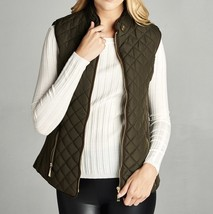 Olive Faux Shearling Lined Vest, Sherpa Lined Puffer Vest, Olive Puffer ... - $44.99
