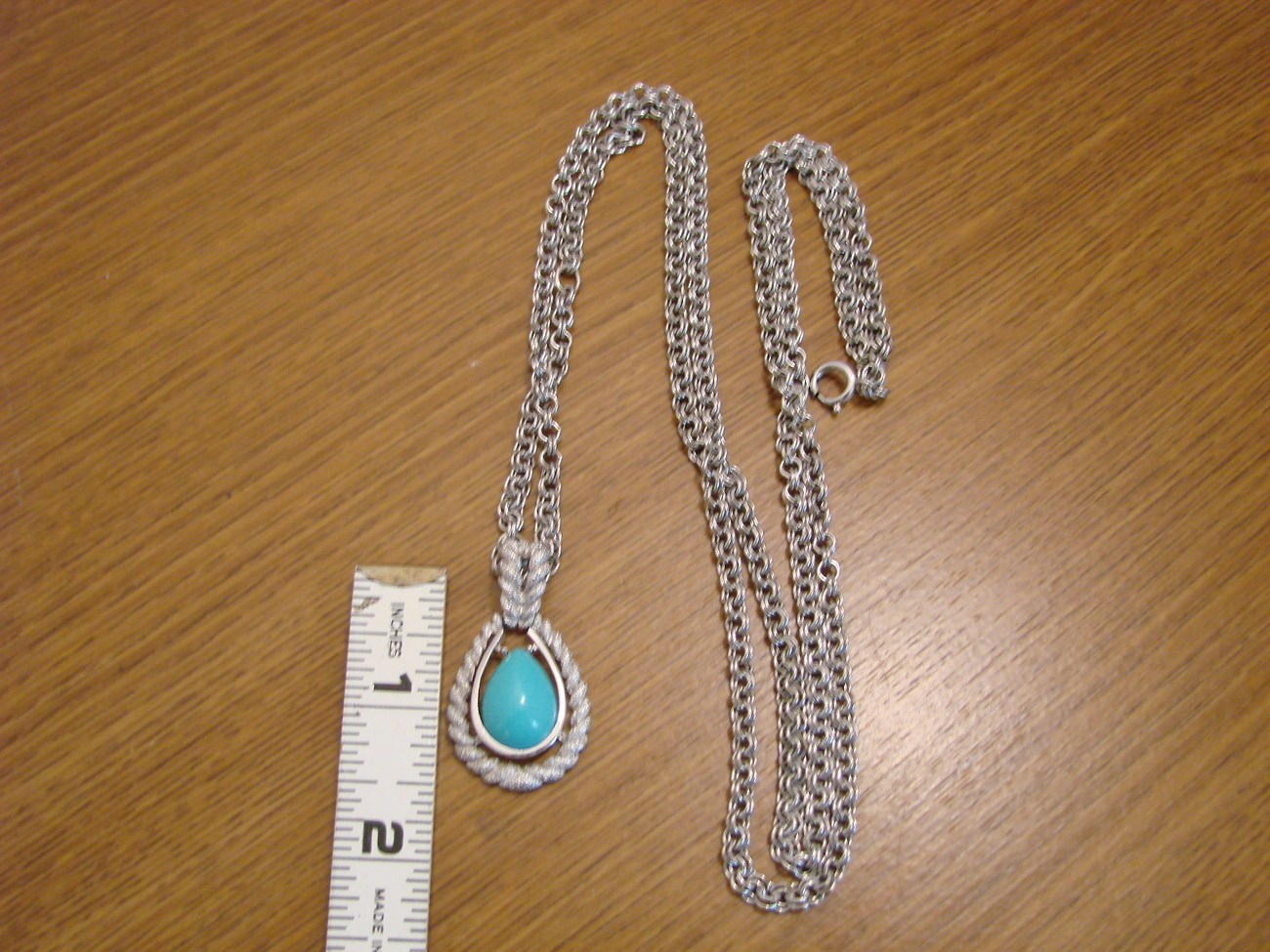 Primary image for Vintage Avon Silvertone Turquoise Pendant Necklace