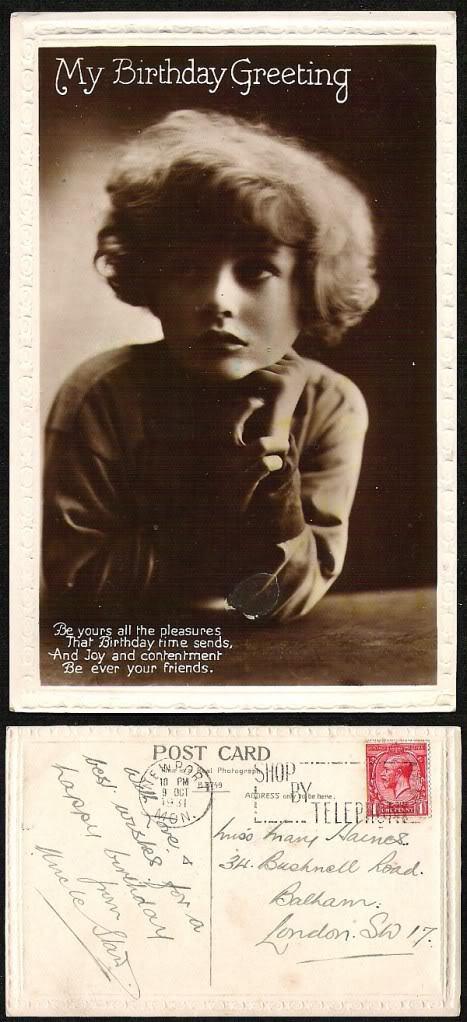 OLD BRITISH 1931 REAL PHOTO POST CARD BIRTHDAY RPPC