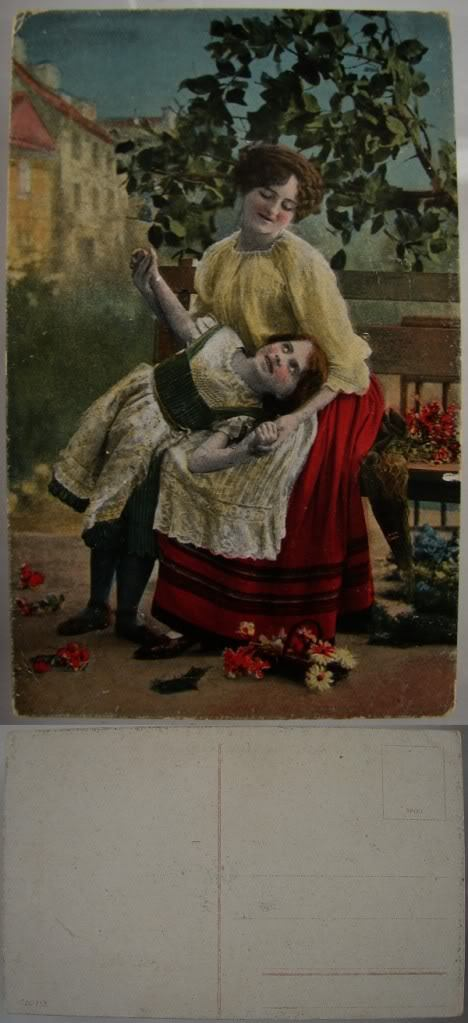 VINTAGE COLORED PRINT UNUSED MOTHER&DAUGHTER POST CARD