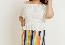 Plus Off Shoulder Top, Cotton Stretch Top, Off Shoulder Plus Size, Ivory image 3