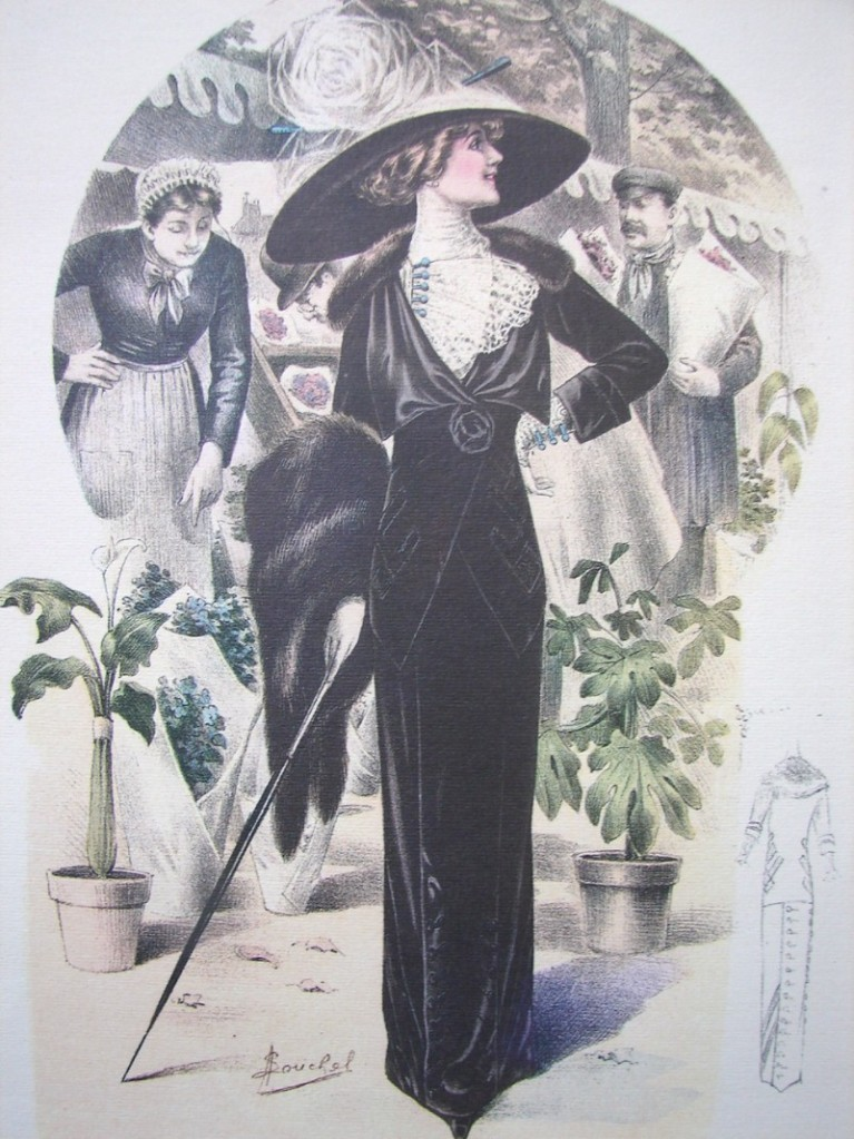 EDWARDIAN LADY FEATHER HAT HAND COLORED FASHION PRINT