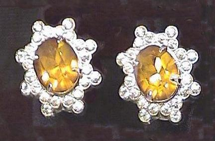 Vintage Coro Rhinestone & Faux Topaz Earrings