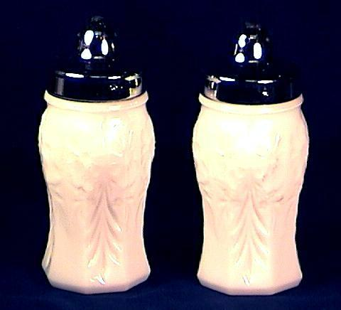 Milk Glass Molded Floral Salt and Pepper Shakers