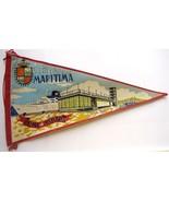 1960's MARITIMA ESTACION FABRIC PENNANT SOUVENIR FLAG  - $9.99