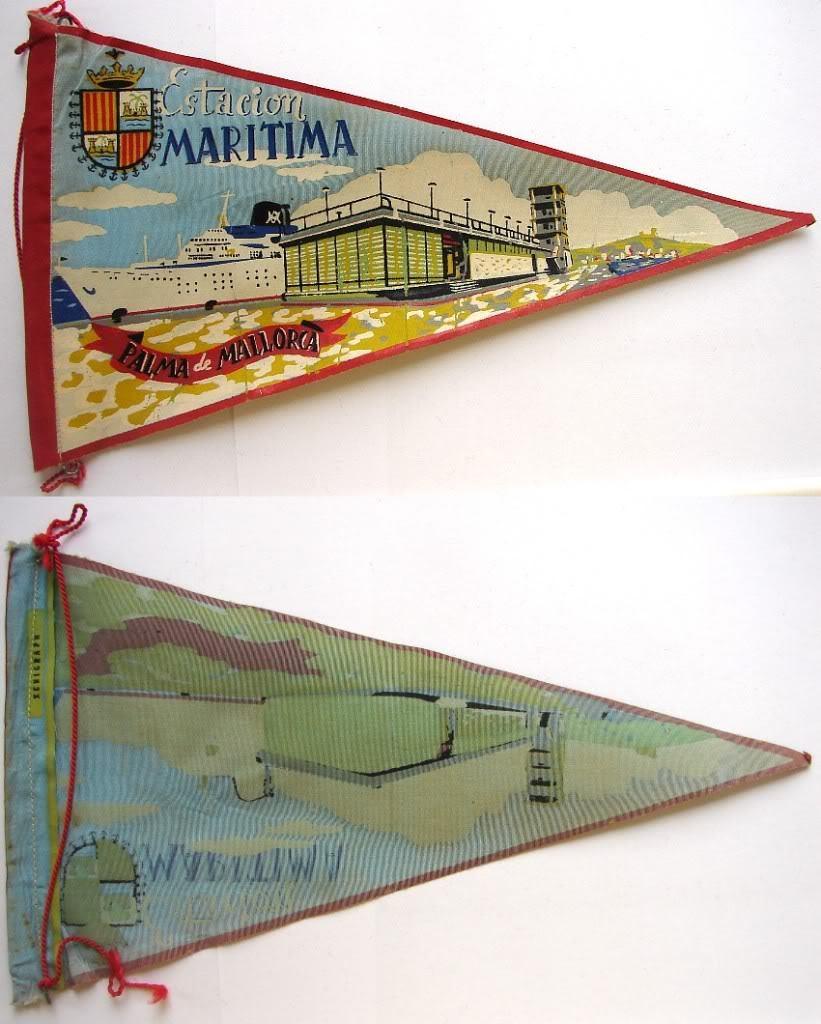 1960's MARITIMA ESTACION FABRIC PENNANT SOUVENIR FLAG