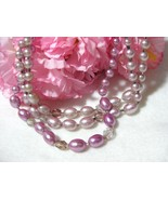 Vintage 3 Strand Pink & Mauve Beaded Necklace C... - $12.00