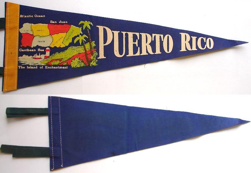 1950-60's PUERTO RICO FELT PENNANT SOUVENIR FLAG