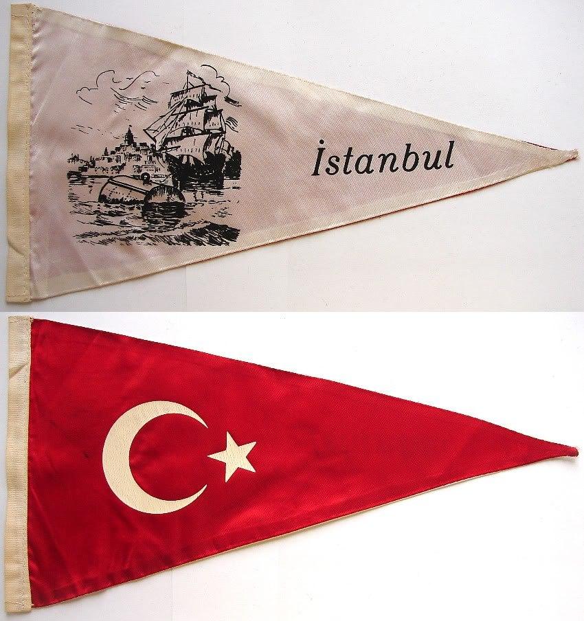 1950-60's ISTANBUL TURKEY FELT PENNANT SOUVENIR FLAG