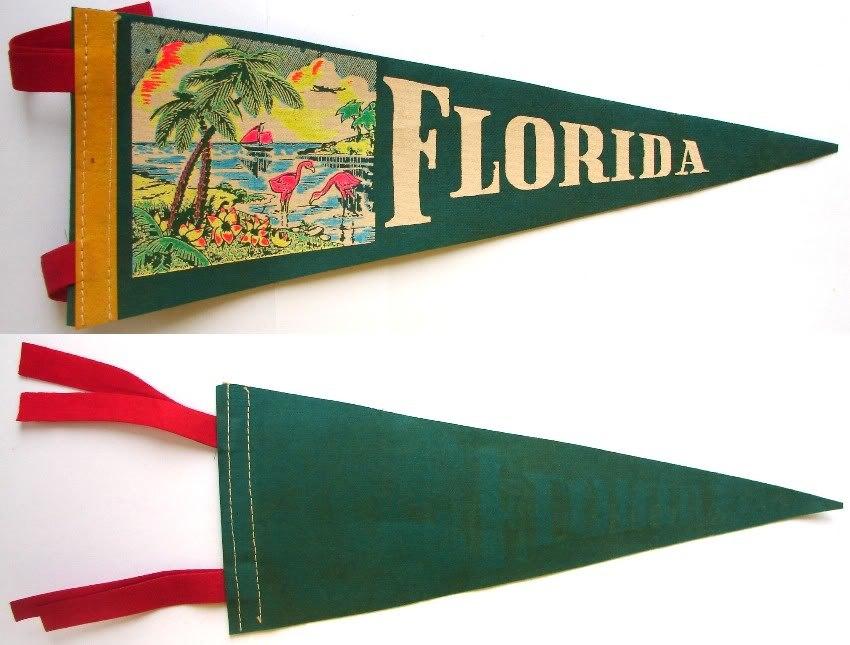 1950-60's FLORIDA FELT PENNANT SOUVENIR FLAG