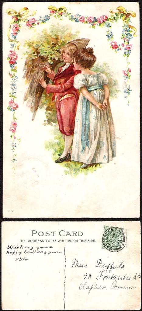 ANTIQUE 1905 BRITISH GIRL&BOY COLOR TINTED POST CARD