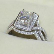 Certified 3.15Ct Radiant Diamond Engagement Wedding Ring Set Real 14K Wh... - $303.91