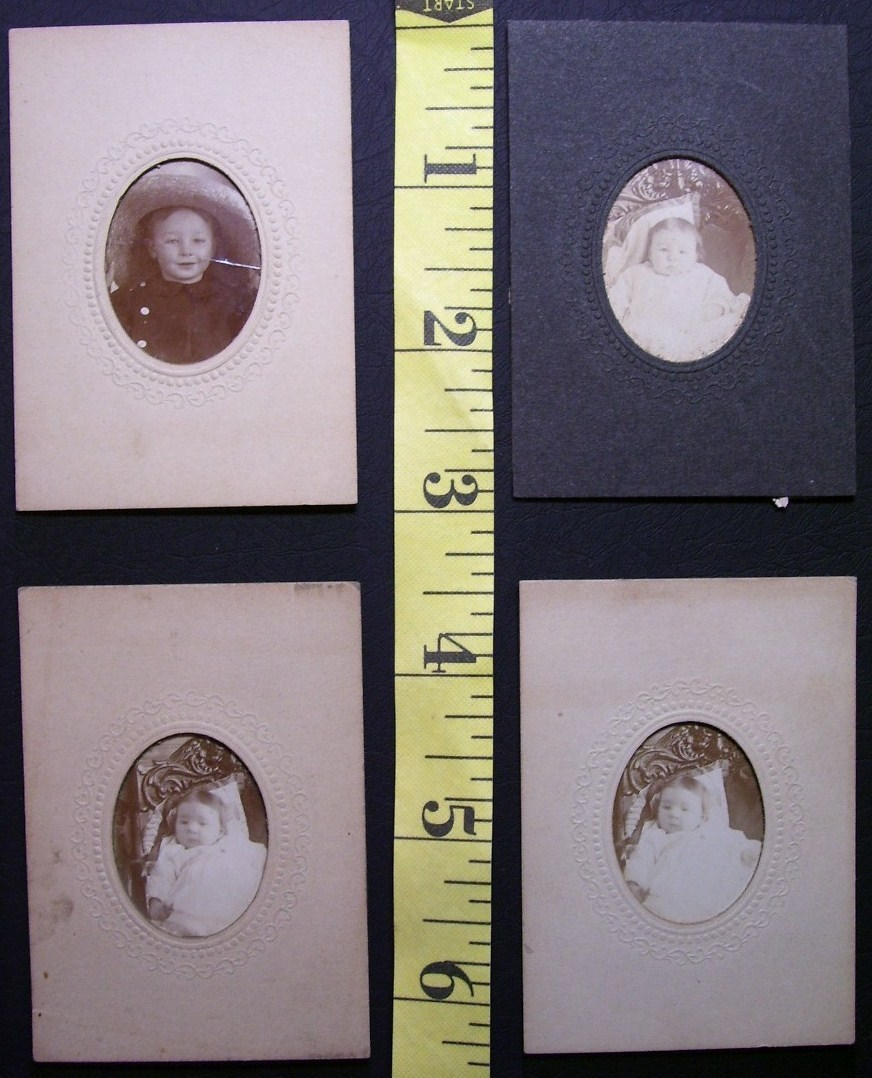 Primary image for Cabinet Card Lot (4) Small Baby Photos Cute! c.1890`s