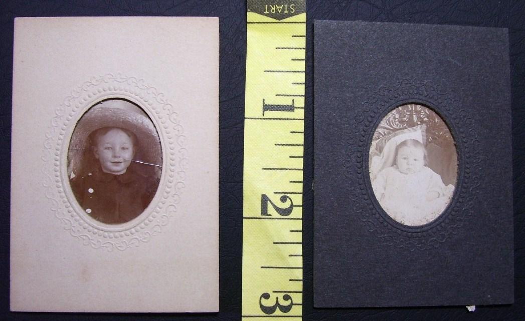 Cabinet Card Lot (4) Small Baby Photos Cute! c.1890`s