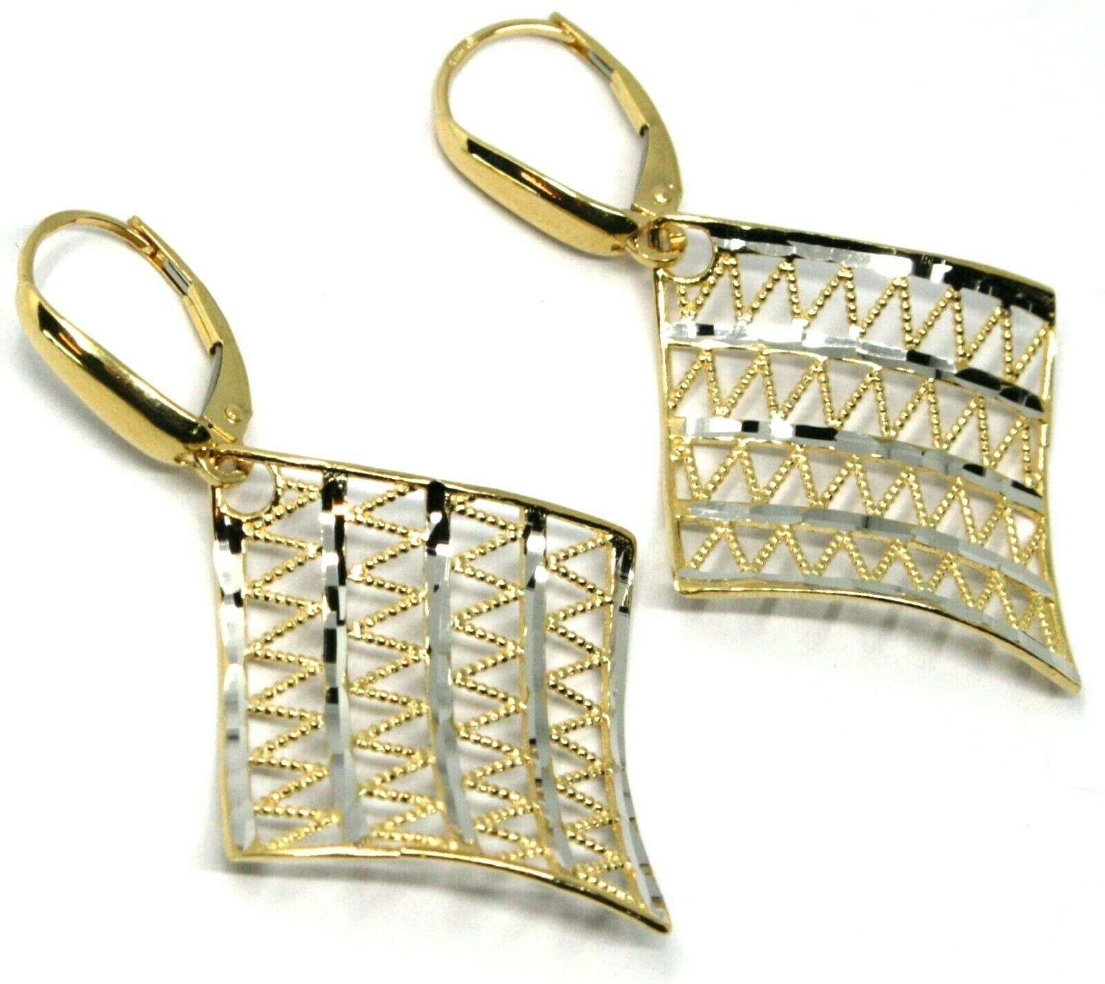 18K YELLOW WHITE GOLD PENDANT EARRINGS ONDULATE WORKED SQUARE, SHINY, STRIPED