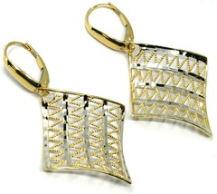 18K YELLOW WHITE GOLD PENDANT EARRINGS ONDULATE WORKED SQUARE, SHINY, STRIPED image 1